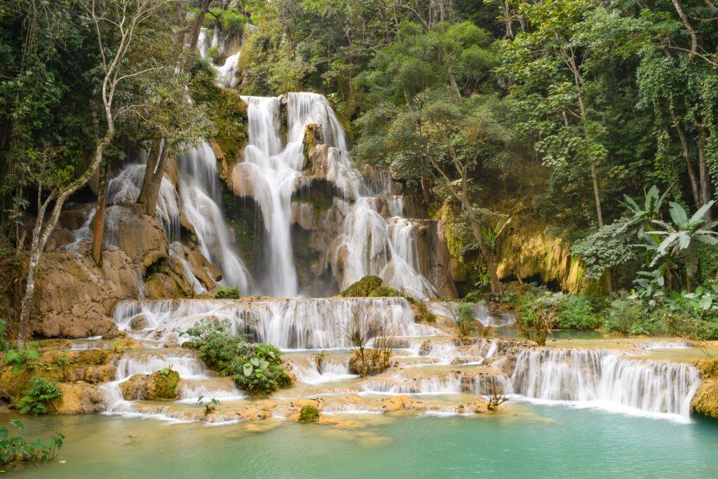 Laos Luang Prabang Kuang Si Falls Long Exposure Shot Landmark