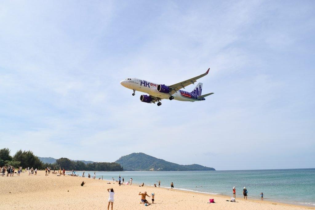 HK Express Airplane Flying Over Nai Yang Beach