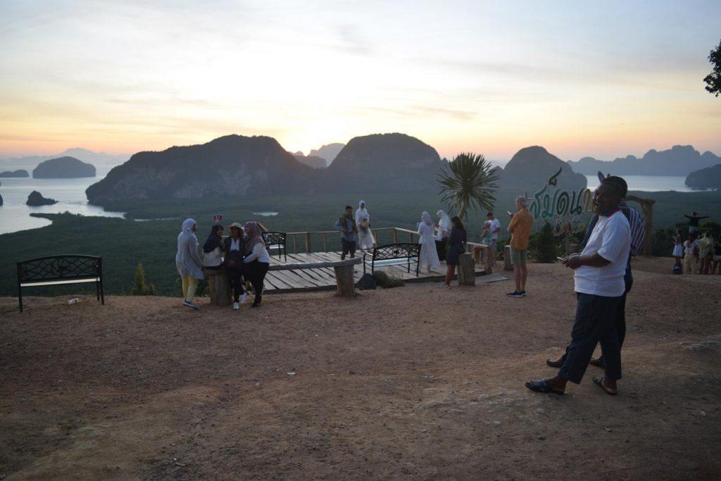 Tourist Crowds Taking Photos at Sunrise